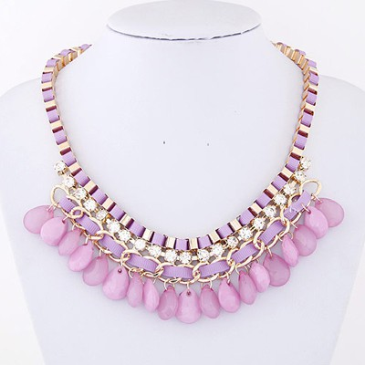 Light Purple Diamond Waterdrop Shape Necklace