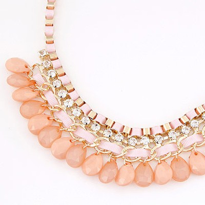 Pink Diamond Waterdrop Shape Necklace