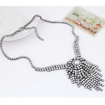 Gun Black Diamond Tassel Necklace