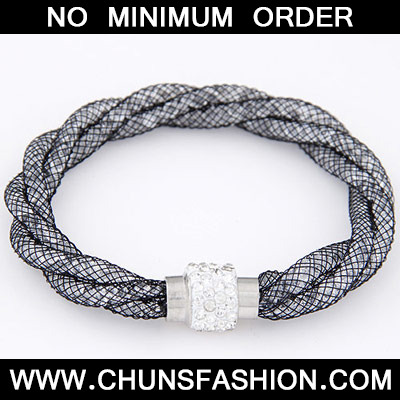 Size White Diamond Weave Bracele