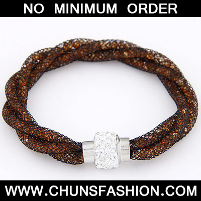 Orange Diamond Weave Bracele