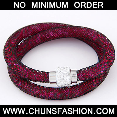 Plum Red Diamond Double Layer Bracele