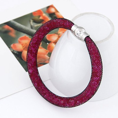 Plum Red Diamond Hollow Out Bracele