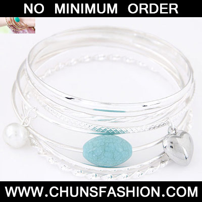 Silver Heart Shape Multilayer Bangle