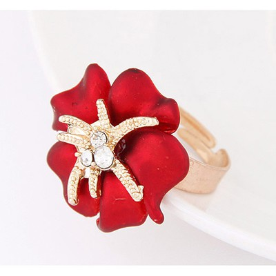 Red Diamond Flower Ring