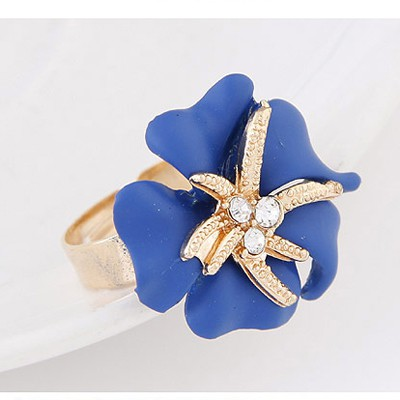 Blue Diamond Flower Ring
