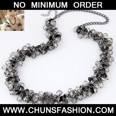 Gun Black Beads Weave Necklace