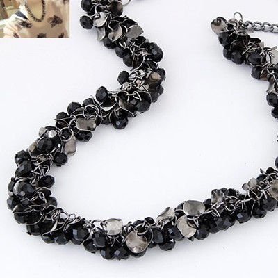 Black Beads Weave Necklace