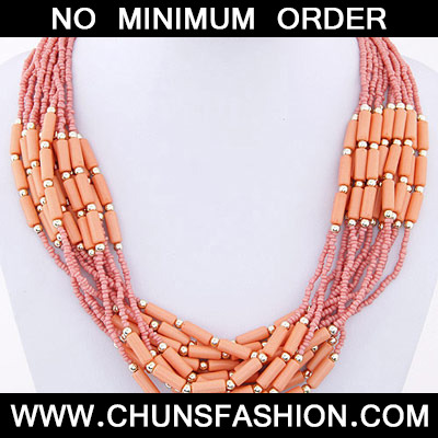 Orange Beads Multilayer Necklace