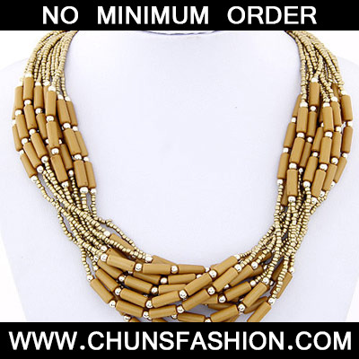 Brown Beads Multilayer Necklace