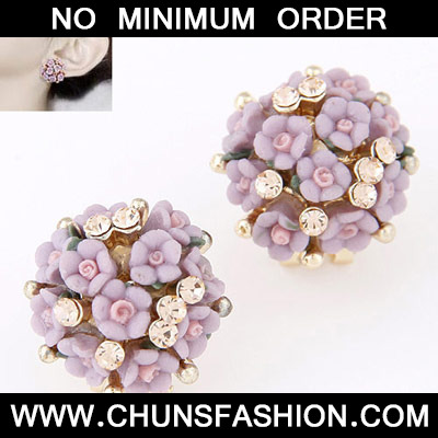 Purple Diamond Flower Stud Earring