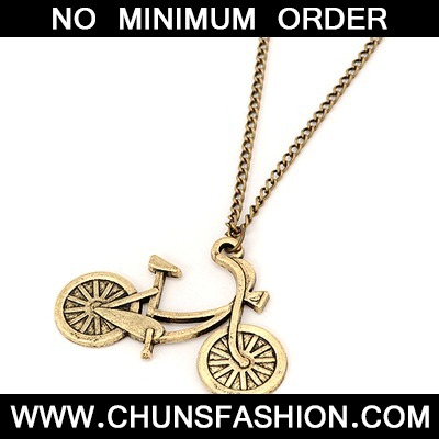 Bronze Bicycle Pendant Necklace