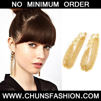 Gold Long Tassels Stud Earring