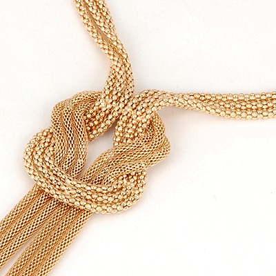 Gold Three Layer Twine Necklace