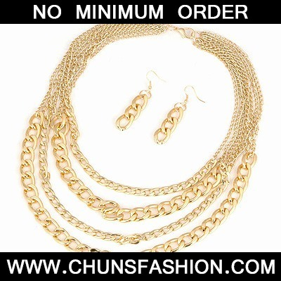 Gold Multilayer Chain Jewelry Set
