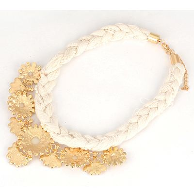 White Hollow Out Flower Braided Rope