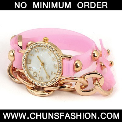 Pink Inlaid Drill Bracelet Style Watch