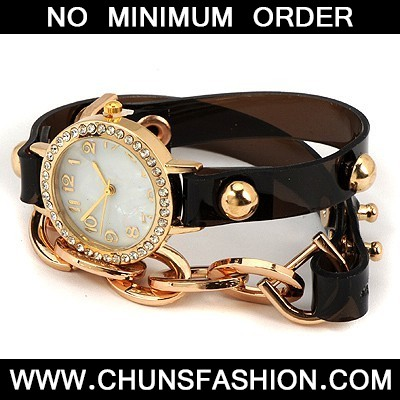Black Inlaid Drill Bracelet Style Watch