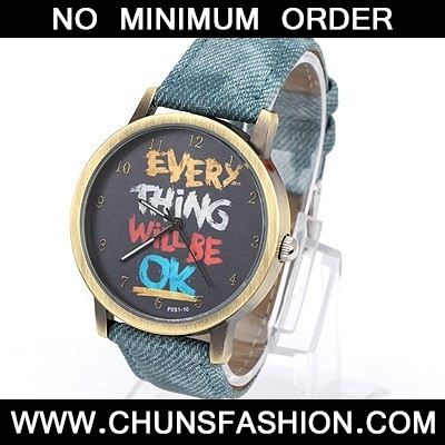 denim Blue letters pattern Ladies Watch