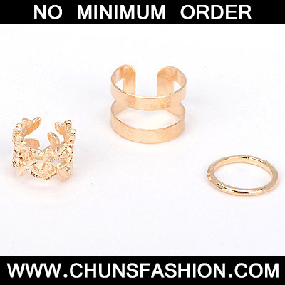 gold leaf hollow out Rings 3