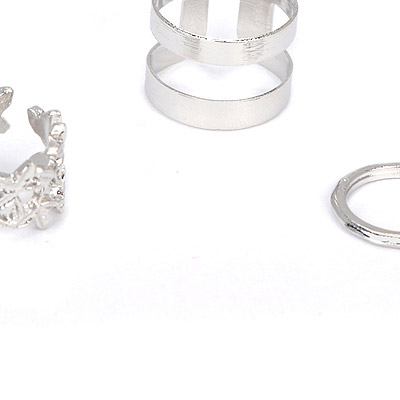 silver leaf hollow out Rings 3