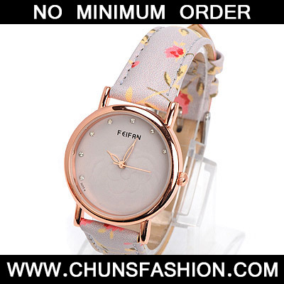 gray diamond rose pattern Ladies Watch