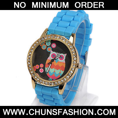 blue diamond owl pattern Ladies Watch