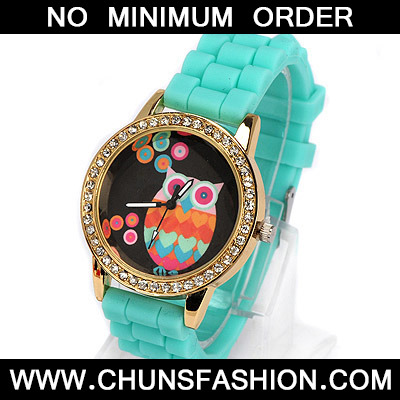 green diamond owl pattern Ladies Watch