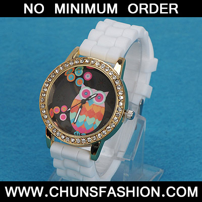 white diamond owl pattern Ladies Watch