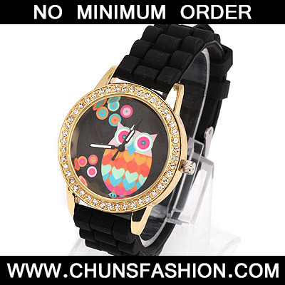 black diamond owl pattern Ladies Watch