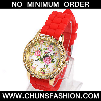 red diamond rose pattern Ladies Watch