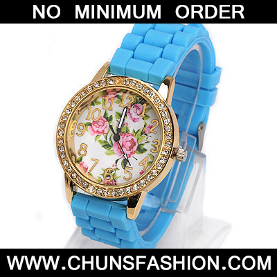 blue diamond rose pattern Ladies Watch