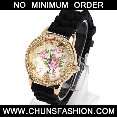 black diamond rose pattern Ladies Watch