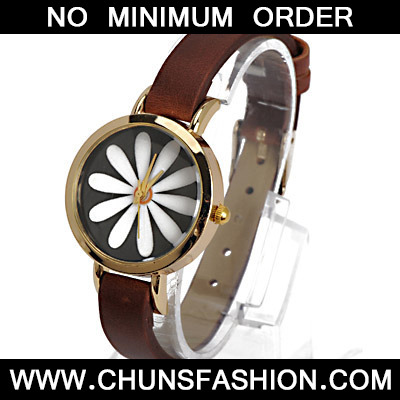 Dark Brown Flower Pattern Ladies Watch