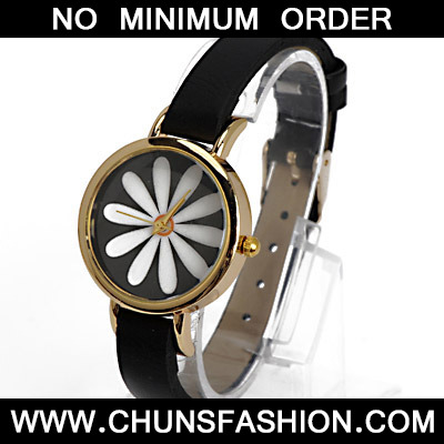 Black Flower Pattern Ladies Watch