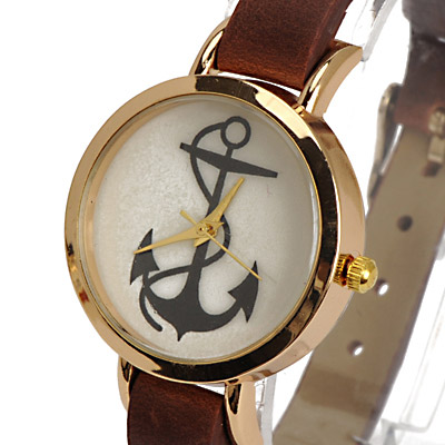 Dark Brown Anchor Pattern Ladies Watch