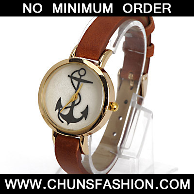Coffee Anchor Pattern Ladies Watch