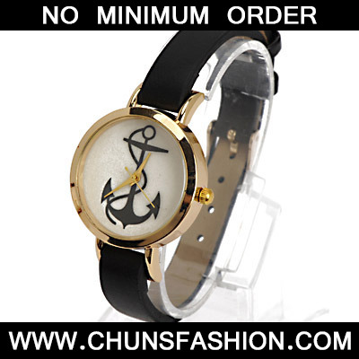 Black Anchor Pattern Ladies Watch