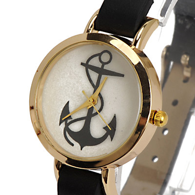 Black Anchor Pattern Ladies Watch - Click Image to Close