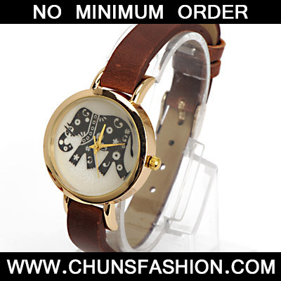 Dark Brown Elephant Pattern Ladies Watch
