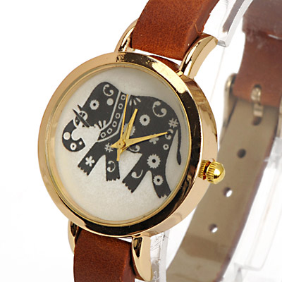 Coffee Elephant Pattern Ladies Watch