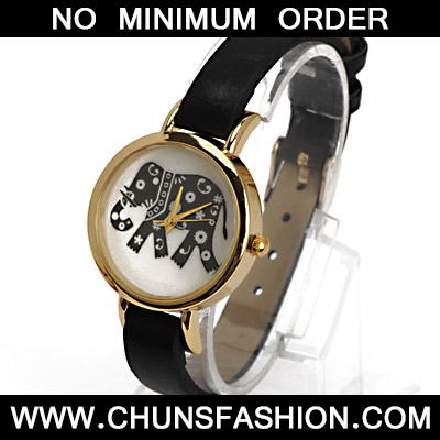 Black Elephant Pattern Ladies Watch