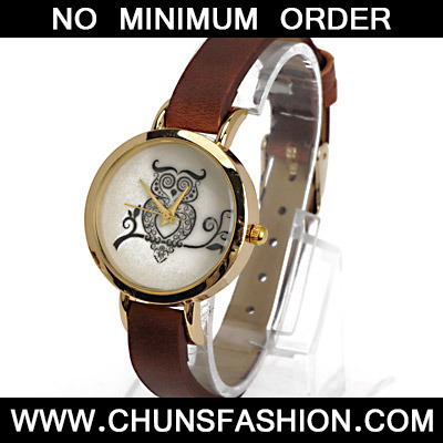 Dark Brown Owl Pattern Ladies Watch