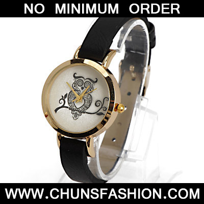 Black Owl Pattern Ladies Watch