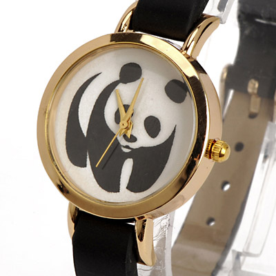 Black Panda Pattern Ladies Watch