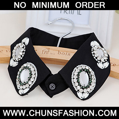 White & Black Chiffon Detachable Collar