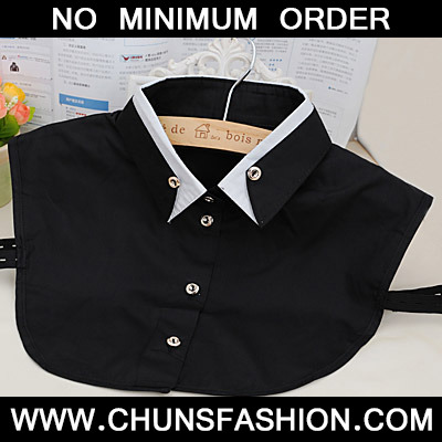 Black Double Layer Collar Shirt Shape