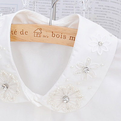 White Flower Embroideried Lace Cotton Detachable