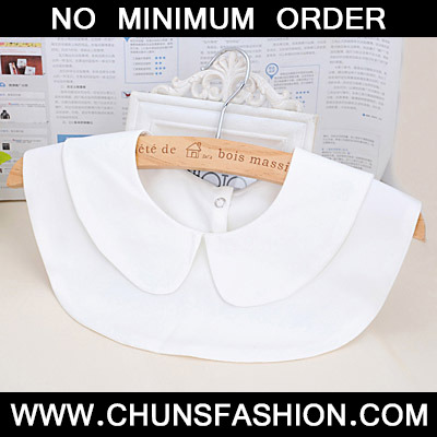 White Pure Round Collar Cotton Detachable