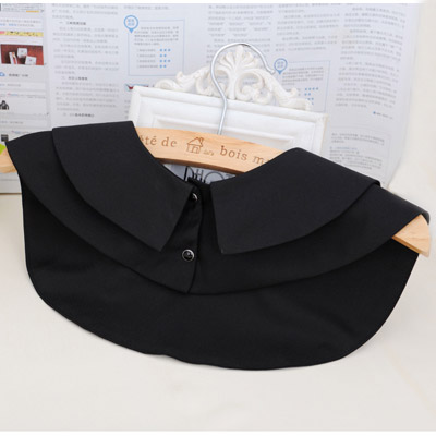 Black Pure Round Collar Cotton Detachable